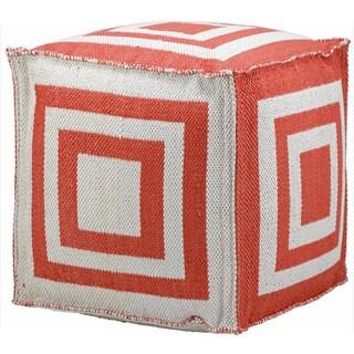 Mina Victory Indoor/Outdoor Orange Cube (16-inch x 16-inch) by Nourison