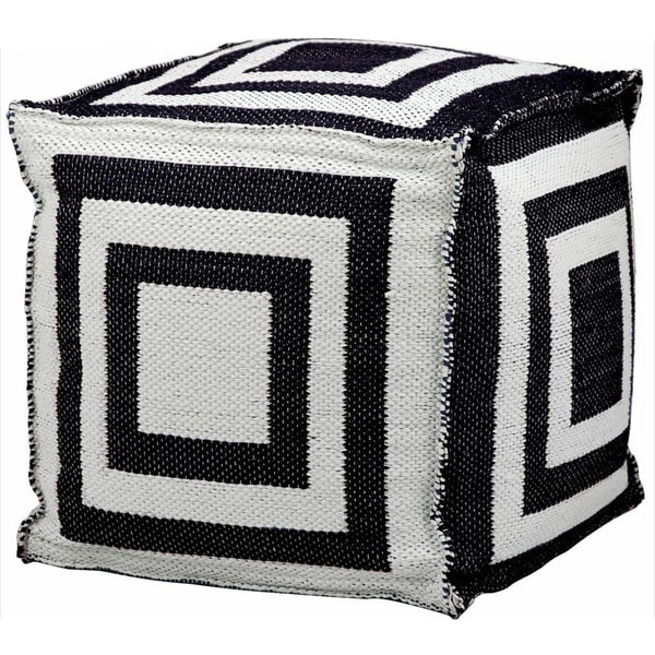 Mina Victory Indoor/Outdoor Black Cube (16-inch x 16-inch) by Nourison