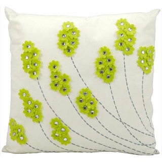 Mina Victory Indoor/Outdoor Felt Flowers Apple Green Throw Pillow (20-inch x 20-inch) by Nourison