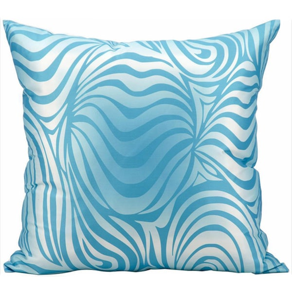 Mina Victory Indoor/Outdoor Zebra Turquoise Throw Pillow