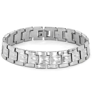 Stainless Steel Men's Classic Wide Grooved Link Bracelet