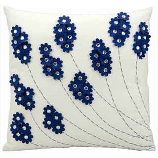 Mina Victory Indoor/Outdoor Felt Flowers Navy Throw Pillow (20-inch x 20-inch) by Nourison