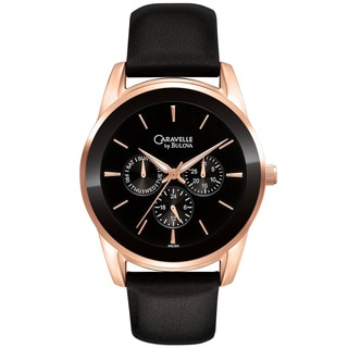 Caravelle by Bulova Men's 44C104 Rose Gold Tone Three Subdials Black Leather Watch