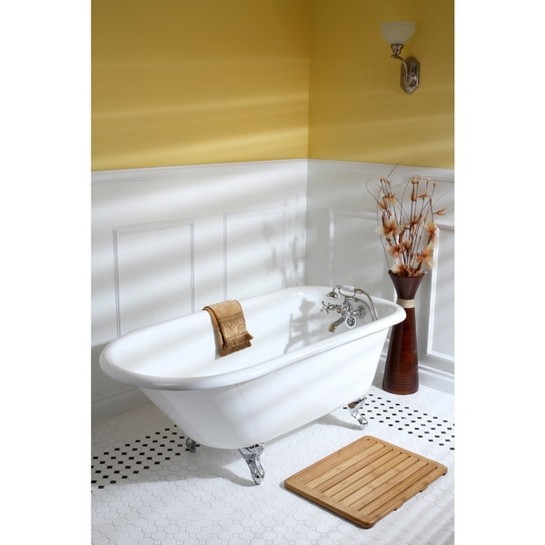 Classic Roll Top Petite 54 Inch Cast Iron Clawfoot Tub With Tub Wall  Drilling   Free Shipping Today   Overstock.com   16375815