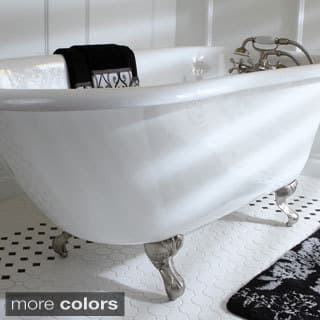 Classic Roll Top Petite 54-inch Cast Iron Clawfoot Tub with Tub Wall Drilling|https://ak1.ostkcdn.com/images/products/9204656/P16375815.jpg?impolicy=medium