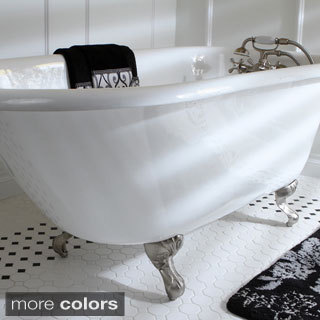 Classic Roll Top Petite 54 Inch Cast Iron Clawfoot Tub With Tub Wall  Drilling