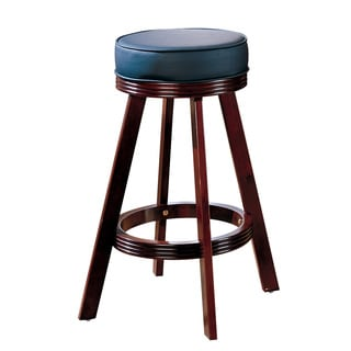 29 Inch Cherry Brown Leather Saddle Bar Stools Set Of 2