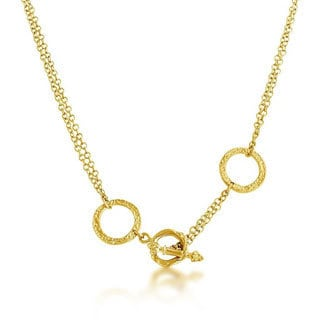 Belcho 14k Gold Overlay Double Chain Textured Ring Pendant Front Toggle Clasp Necklace