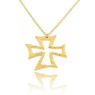 Belcho Gold Overlay Small Maltese Cross Abstract Pendant Necklace
