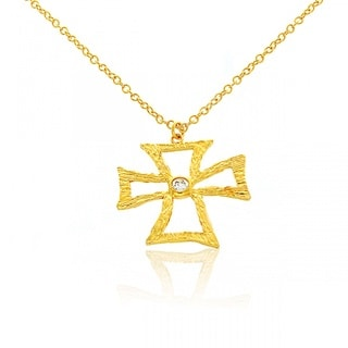 Belcho Maltese Cross Abstract Clear Cubic Zirconia Pendant Necklace