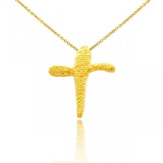 Belcho Gold Overlay Hammered Abstract Cross Pendant Necklace