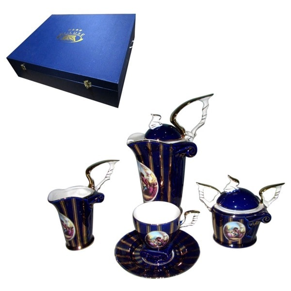 alpine cuisine navy gold 17 piece tea set free shipping