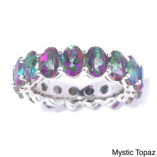 Sterling Silver Oval-cut Topaz Eternity Stackable Band Ring