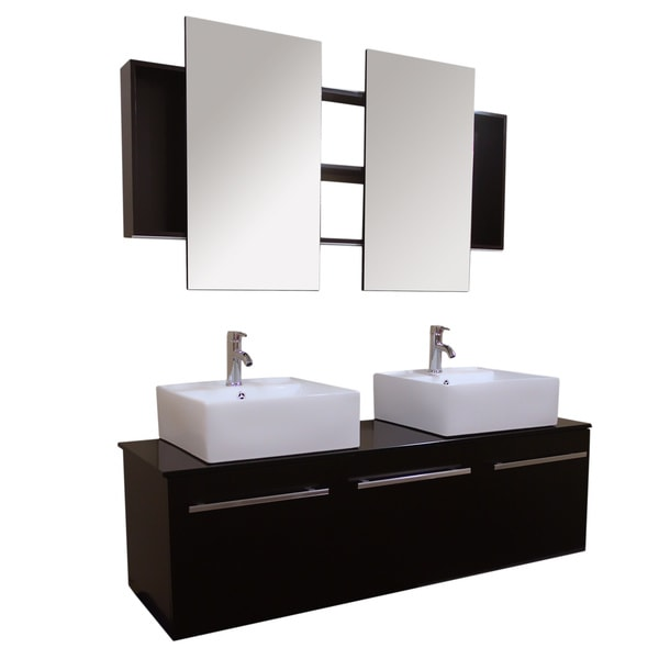 Kokols 60 Inch Wall Mount Floating Bathroom Vanity Cabinet With Mirror And Fa