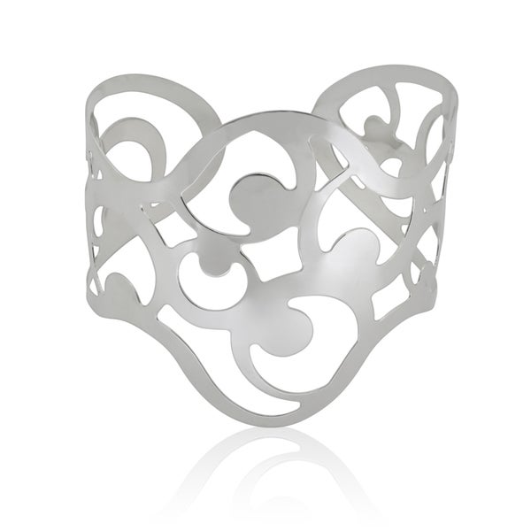 Gioelli Sterling Silver High Polished Lace Cuff Bangle