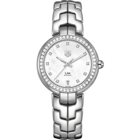 Tag Heuer Women's WAT2314.BA0956 Diamonds Silver Steel Bracelet & Case Anti-Reflective Sapphire Watc