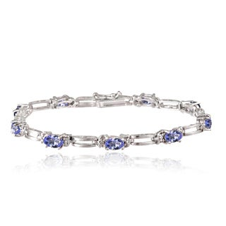 Glitzy Rocks Sterling Silver 5ct TGW Tanzanite and Diamond Accent Bracelet