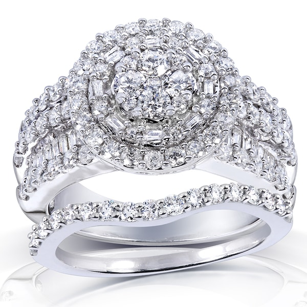 Annello by Kobelli 14k White Gold 2 1/4ct TDW Diamond Halo Cluster Bridal Ring Set by Kobelli (H-I, I2-I3)