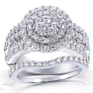 Annello by Kobelli 14k White Gold 2 1/4ct TDW Diamond Halo Cluster Bridal Ring Set (H-I,