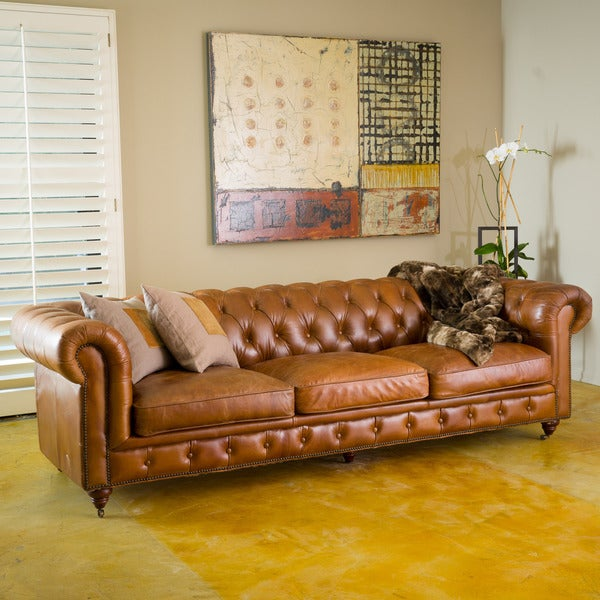 Chesterfield Tufted Leather Sofa By Christopher Knight Home