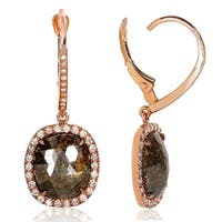 Annello by Kobelli 14k Rose Gold 5 4/5ct TDW Earthy Rustic Opaque Brown Diamond Halo Leverback Earrings