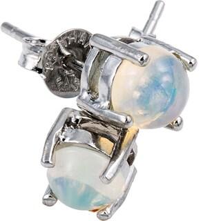 Glitzy Rocks Sterling Silver 6mm Round Fiery Created White Opal Stud Earrings