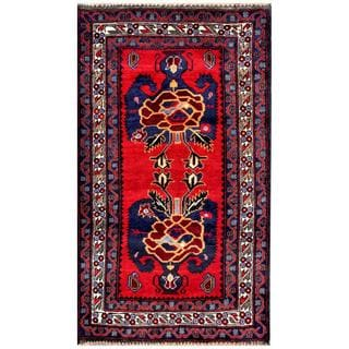 Herat Oriental Afghan Hand-knotted Tribal Balouchi Red/ Navy Wool Area Rug (2'5 x 4'5)