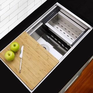 "Highpoint 30"" Zero-Radius Undermount Stainless Steel Kitchen Sink w/ Colander, Cutting Board, Drain|https://ak1.ostkcdn.com/images/products/9206371/P16377504.jpg?impolicy=medium"
