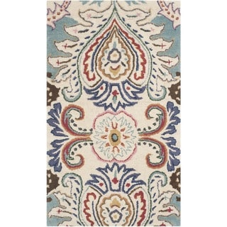 Safavieh Handmade Bella Ivory/ Blue Wool Rug (2'6 x 4')