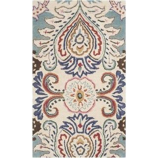Safavieh Handmade Bella Ivory/ Blue Wool Rug - 2'6 x 4'