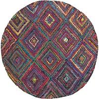 Safavieh Handmade Nantucket Modern Abstract Multicolored Cotton Rug - multi - 4' Round
