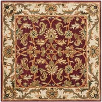 Safavieh Handmade Heritage Traditional Kashan Red/ Ivory Wool Rug - 4' Square