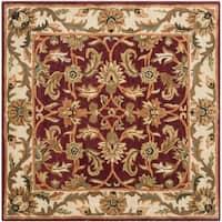 Safavieh Handmade Heritage Traditional Kashan Red/ Ivory Wool Rug (4' x 4')