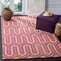 Safavieh Handmade Moroccan Cambridge Fuchsia/ Grey Wool Rug - 5' x 8'