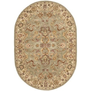Safavieh Handmade Heritage Traditional Oushak Light Green/ Beige Wool Rug (4'6 x 6'6 Oval)
