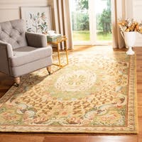 Safavieh Handmade Classic Taupe/ Light Green Wool Rug - 2'3 x 4'