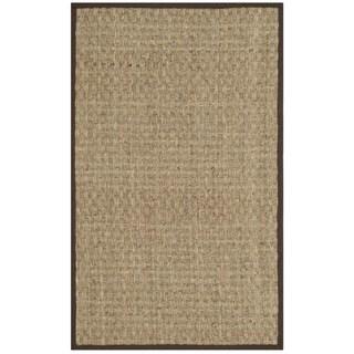 Safavieh Casual Natural Fiber Natural and Dark Brown Border Seagrass Rug (2'6 x 4')