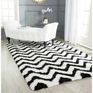 Safavieh Handmade Barcelona Shag White/ Black Polyester Rug (5' Square)