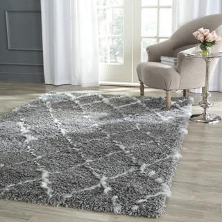 Safavieh Moroccan Shag Grey/ Ivory Rug (5' Square)