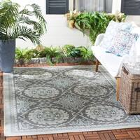 "Safavieh Indoor/ Outdoor Courtyard Light Grey/ Anthracite Rug - 2'7"" x 5'"