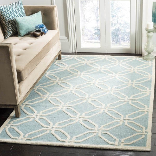 Safavieh Handmade Moroccan Cambridge Light Blue/ Ivory Wool Rug - 8' x 10'