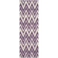 "Safavieh Handmade Moroccan Cambridge Purple/ Ivory Wool Rug - 2'6"" x 8'"