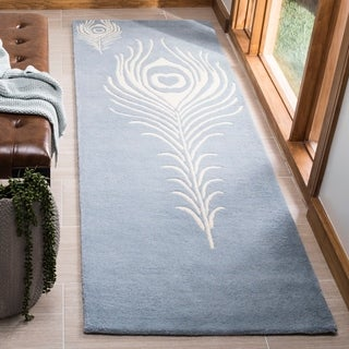 Safavieh Handmade Soho Light Blue/ Ivory New Zealand Wool/ Viscose Rug (2'6 x 8')
