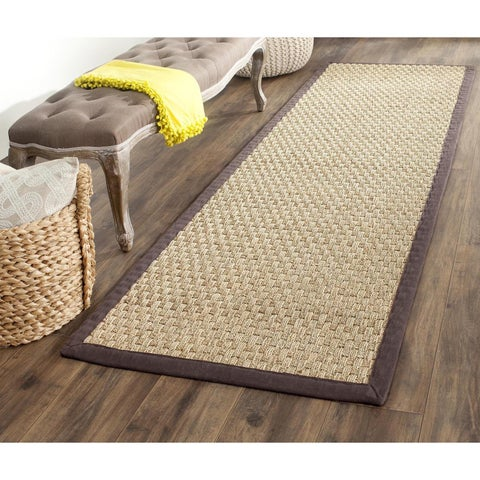 "Safavieh Natural Fiber Marina Natural/ Dark Brown Seagrass Rug - 2'6"" x 10'"