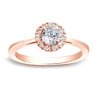 Auriya 14k Rose Gold 1/2ct TDW Round Diamond Halo Engagement Ring (H-I, SI1-SI2)