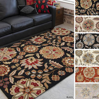 Hand-tufted Lily Pad Floral Wool Area Rug (7'6 x 9'6)