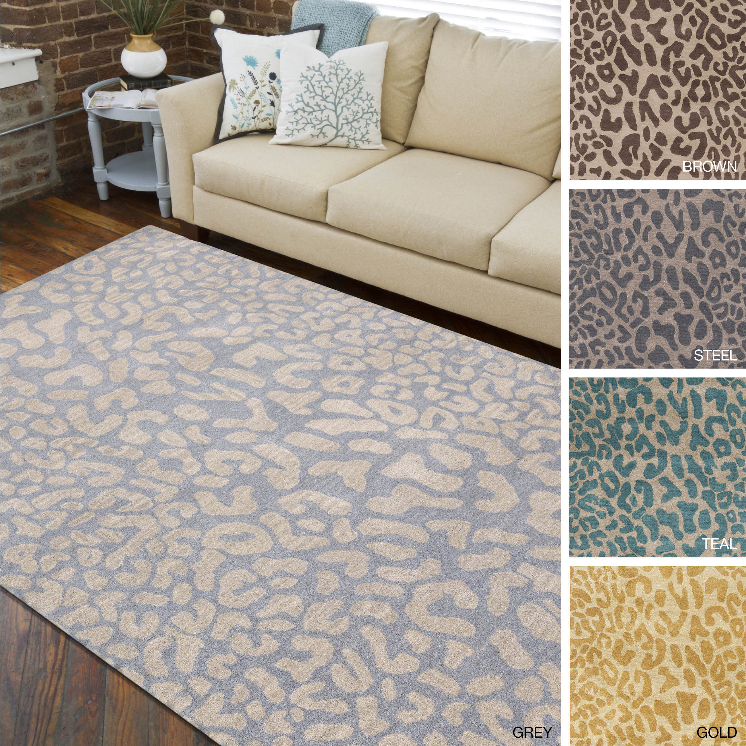 Hand Tufted Jungle Animal Print Wool Area Rug