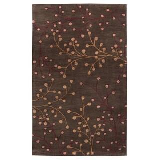 Hand-tufted Sakura Branch Floral Wool Area Rug (9 x 12 - Brown)