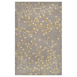 Hand-tufted Sakura Branch Floral Wool Area Rug (9 x 12 - Gold)