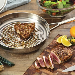 Anolon Tri-Ply Clad Stainless Steel 12-inch Deep Round Grill Pan